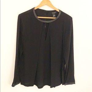 Club Monaco Black 100% Silk Long Sleeve Blouse